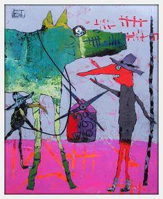 Elke Trittel acrylics, collage on board 24/29cm