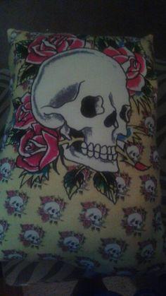 Ed Hardy t shirt pillow #skulls #edhardy #pillow #bellaslittlebowtique #forsale