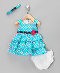 Aqua Polka Dot Floral Ruffle Dress Set - Infant