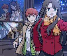 Shirou Emiya Rin Toshaka and their spirit forms Fate Stay Night Rin, Fate Stay Night Series, Art Anime, Chica Anime Manga, Fate Archer, Character Art, Character Design, Tohsaka Rin, Shirou Emiya