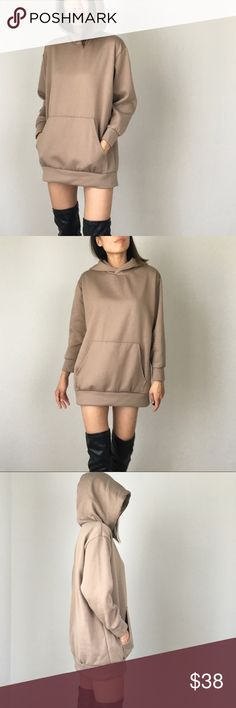 """Top Trend Kylie style nude long sweatshirt hoodie Dress down is the new dress UP! Athleisure, basic style . Celebrity basic glam style. This piece is designed to look stylist and better than normal sweatshirt hoodie top.. it's longer and the material is dense and soft as butter. good quality material.im wearing size s : bust 46"""" , length 31"""" for covershot. I'm size s /5'7 tall. MADE IN USA. Pair it with just a mesh legging or just the sweatshirt itself with a white sneakers or heels in the…"""