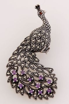 Peacock Brooch with Garnet, Marcasite, and Amethyst