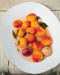 Poached Peaches with Baked Ricotta Recipe