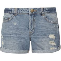 Dorothy Perkins Mid Wash Ripped Boyfriend Fit Shorts (80 BRL) ❤ liked on Polyvore featuring shorts, pants, bottoms, pants/shorts, blue, distressed boyfriend shorts, dorothy perkins, ripped shorts, destroyed shorts and boyfriend shorts