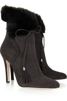 Oscar de la Renta Sharon shearling-trimmed suede boots
