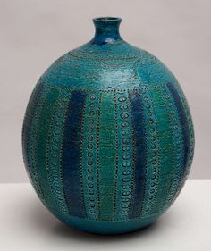 A Bitossi Rimini Blue Vase Designed by Aldo Londi | From a unique collection of antique and modern vases at http://www.1stdibs.com/furniture/more-furniture-collectibles/vases/