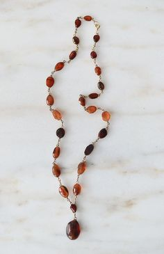 Drops of Amber Necklace / vintage amber stone necklace / vintage jewelry