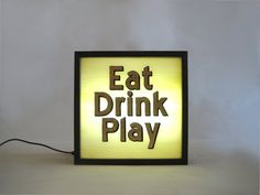 Gold Leaf EAT DRINK PLAY Vintage Wooden Lightbox by Bingkai