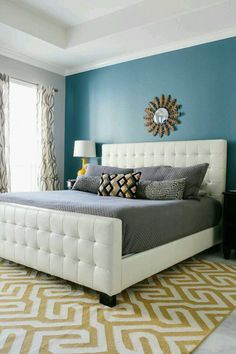 I love the colors, grey with turquoise and yellow accent -- Blue master  bedroom