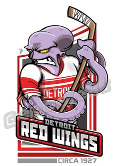 An octopus wearing the 1927 Detroit Red Wings Jersey