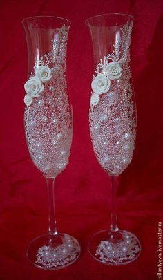 Similar items available for purchase through PIC Artisans. Custom ordering also available. Wedding Wine Glasses, Wedding Champagne Flutes, Champagne Glasses, Decorated Wine Glasses, Painted Wine Glasses, Wine Glass Crafts, Bottle Crafts, Glitter Glasses, Wedding Crafts