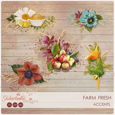 Farm Fresh Accents #SnickerdoodleDesigns  A set of 5 accents which coordinate with the Farm Fresh Collection, and designed to make your layouts come together quickly and easily.   Included: 5 pre-assembled accents in various sizes, provided in both shadowed and non-shadowed versions.