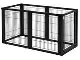This Pet Gate / Pet Pen Combo Kit has it all. Easily configure it to your needs.This dog gate includes a lockable door that allows you to move freely from room to room without having to shuffle the en                                                                                                                                                                                 More