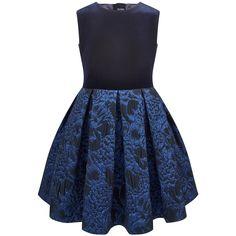 Velvet and jacquard knit dress - 146186