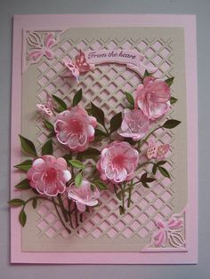 The flowers made from the Memory Box - Dogwood Blossom  Dogwood Blossom Outline Dies. The leaves are another Memory Box Die called Fresh Foliage. made by Angie Evans of http://pennyflowers.blogspot.com.au/