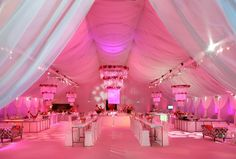 """This is GORGEOUS! The party tent held 20 V. cabanas for the movie's (""""Valentine's Day"""") giant cast. (a shade of radiant orchid? Tent Decorations, Reception Decorations, Event Decor, Floral Decorations, Hanging Flowers, Pink Parties, Romantic Weddings, Pink Weddings, Event Photography"""