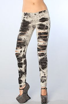 The Storm Slashed Skinny Jeans in Black Wash by Tripp NYC  use rep code: olive for 20% off  karmaloop.com
