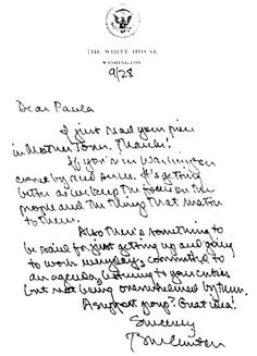 Handwriting Sample of President Clinton