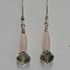 "Faceted smoky quartz with rose quartz and sterling silver beads, sterling silver ear wires. 1 3/4"" long"
