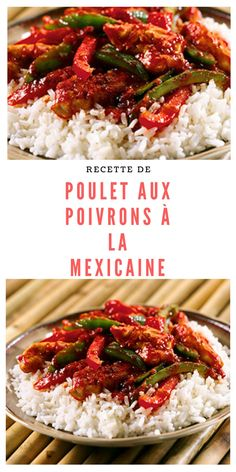 #poulet #poivrons #mexicain Food To Make, Rice, Chicken, Cooking, Table, American Recipes, Food Recipes, Drinks, Poultry