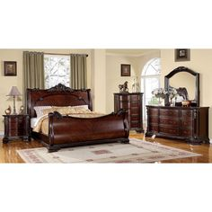 Complete the look of your bedroom with this luxurious sleigh bed set with its intricate Baroque style carvings. The entire set is smoothly finished in a warm brown cherry.