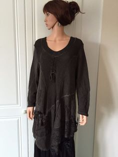 Tunic Top Asymmetrical by Sarah Santos of Italy in Chocolate Brown