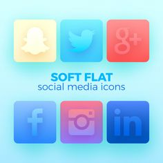 6 pack with soft flat vector social media icons. Can be used in webdesign and app design, posters, newsletters and other brand design materials. If you like the soft gradients, you can use them in other graphics