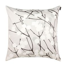 Marimekko Lumimarja Grey / White Throw Pillow A white string of snowberries stretch across the face of the Marimekko Lumimarja Grey/White Throw Pillow. Featuring Erja Hirvi's popular pattern from 2004 in a new color combo, this wintery hued pillow.