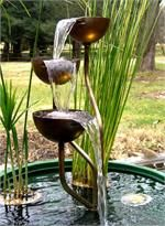 """Beautiful and durable 100% hand-welded Stainless Steel Fountain made in the USA!  Three 6"""" cups standing 33"""" tall."""