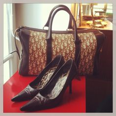 Dolce Gabbana heels size 37 from the 90s and an oversized vintage bag of Christian Dior from the 80s. Want it? --> sales@design-only.com