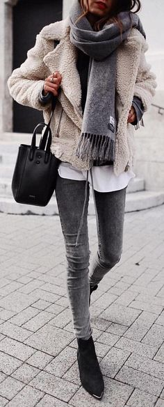 #winter #outfits brown coat and grey denim fitted jeans outfit