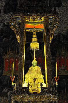 The Emerald Buddha- Phra Phuttha Maha Mani Rattana Patimakon is the palladium of the Kingdom of Thailand, a figurine of the sitting Buddha, made of green Nephrite (rather than emerald), clothed in gold, and about 45 cm tall.