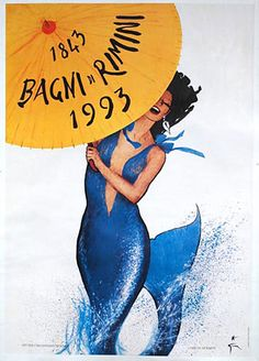 Italy: BAGNI di RIMINI, original Italian travel poster created by artist Rene Gruau. This is a anniversary poster for the beach city of Rimini, Italy and is the last poster that was created by this master artist. Jacques Fath, Retro Poster, Poster Vintage, Vintage Travel Posters, Poster Poster, Pierre Balmain, Vintage Advertisements, Vintage Ads, Marie Claire