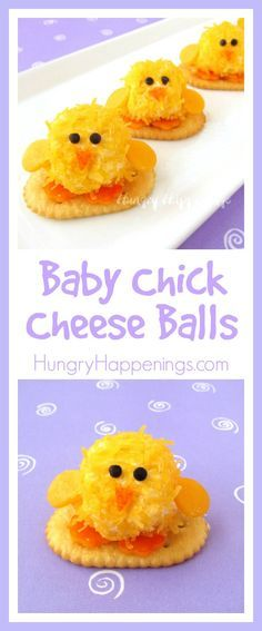 Easter Appetizers – Baby Chick Cheese Balls are so CUTE! Get festive this Easter and make these adorable Easter Appetizers – Baby Chick Cheese Balls! These bite sized balls of fun are so cute and the perfect size to pop right in your mouth! Easter Snacks, Easter Appetizers, Easter Treats, Easter Recipes, Easter Food, Cheese Appetizers, Sandwich Appetizers, Cute Easter Desserts, Appetizer Party