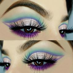 Silver Purple And Green Eye Makeup Inspiration #makeup #makeupgoals #makeupartist - credits to the artist