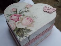 hand- decorated wooden box, shabby chic