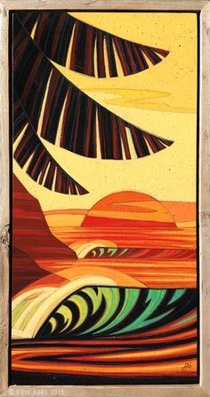 """""""Gone Troppo"""" © Erik Abel 2015 12"""" x 24"""" Acrylic, marker, colored pencil on wood. Frame: Reclaimed wood"""