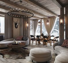 Trendy Home Interior Rustic Mountain Home Interiors Rustic Ideas Dream Home Design, Home Interior Design, Mountain Home Interiors, Tiny House Cabin, Wooden Sofa, Trendy Home, Log Homes, Living Room Designs, Sweet Home