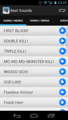 The best application with the best sounds for your device.The app features has 99 individually selected sounds for you to enjoy with your friends! Divided into several categories, including:* GAMES / MEMES   - Now with the best sounds of the best games and memes (DOUBLE KILL, TRIPLE KILL, Fatality, Hadouken, Keyboard Cat, SPARTA!, And more)!* Honks / Sirens   - Sound effects of car horns and sirens of all kinds, have fun with your friends with these sounds!* Disgust  ...
