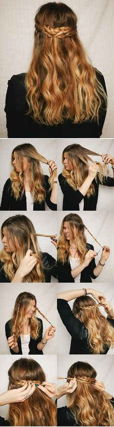 DIY Half Up Braided Crown Hairstyles I'd like to try this color on my hair, though it would probably look way cooler with naturally wavy hair. Still I can make my hair wavy. Braided Crown Hairstyles, My Hairstyle, Pretty Hairstyles, Easy Hairstyles, Braided Updo, Hairstyle Ideas, Perfect Hairstyle, Boho Hairstyles For Long Hair, Braided Pigtails