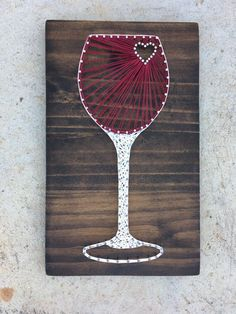 Wine Glass String Art Board by KailsStringArt String Art Templates, String Art Patterns, Doily Patterns, Dress Patterns, Nail String Art, String Crafts, Anchor String Art, Arte Linear, Thread Art