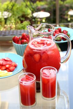 Strawberry Lemonade: Blend 1.25 lbs. (4 cups) strawberries & 1/2 cup honey or sugar & 1 cup water. Place blended strawberry mix in a pitcher. Then in the same blender, blend 2 quartered lemons & 1 cups water. Strain lemon mix into pitcher, mix well, add 4 cups water. Taste & adjust sweetness if needed. gm