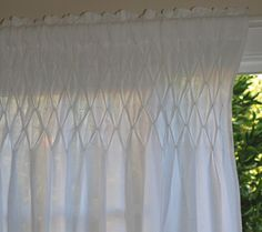 Image detail for -Top Linen Curtain Panel Shabby Cottage Chic-Smocked Top Linen Curtain