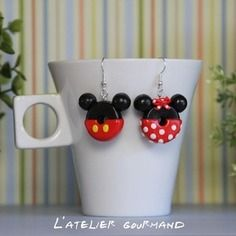 Boucles d'oreilles donuts mickey & minnie fimo