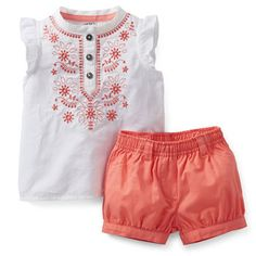 Sweet Apricot 2-Piece Woven Top & Bubble Short Set