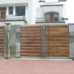 Amazing 37 Spectacular Gate Design Ideas That You Can Copy Right Now In Your Home. Iron Main Gate Design, Home Gate Design, Gate Wall Design, House Main Gates Design, Steel Gate Design, Front Gate Design, House Design, Grill Gate Design, Wooden Gate Designs