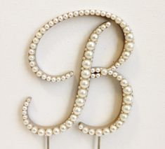 Elegant Pearl Monogram Cake Topper (Font 4) High Quality Wood, Hand Painted - Any Letter A B C D E F G H I J K L M N O P Q R S T U V W X Y Z