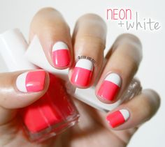 Neon + white - Glitter and Nails : the girl who loves glitter and nailpolish