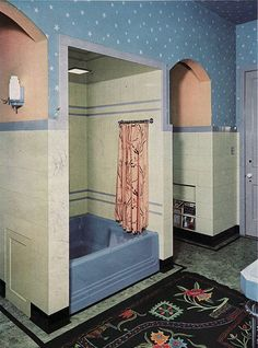 Designers makers of Art Deco original period bathrooms & Bathroom Design Art Nouveau, Blog Art, Art Deco Bathroom, Bathroom Designs, Bathroom Interior, Mid Century Bathroom, Vintage Bathrooms, 1930s Bathroom, Modern Bathroom
