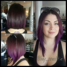 Long A-Line Bob with Purple Color Melt by me